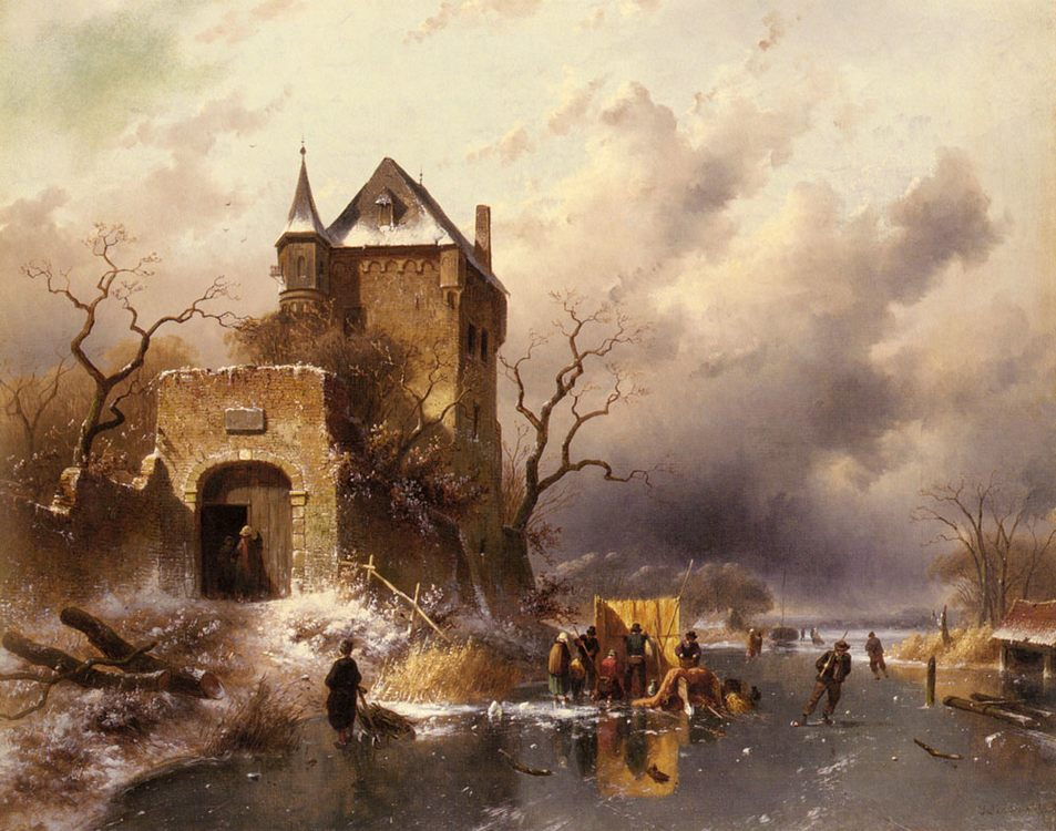 Skaters on a Frozen Lake by the Ruins of a Castle :: Charles Henri Joseph Leickert - winter landscapes фото