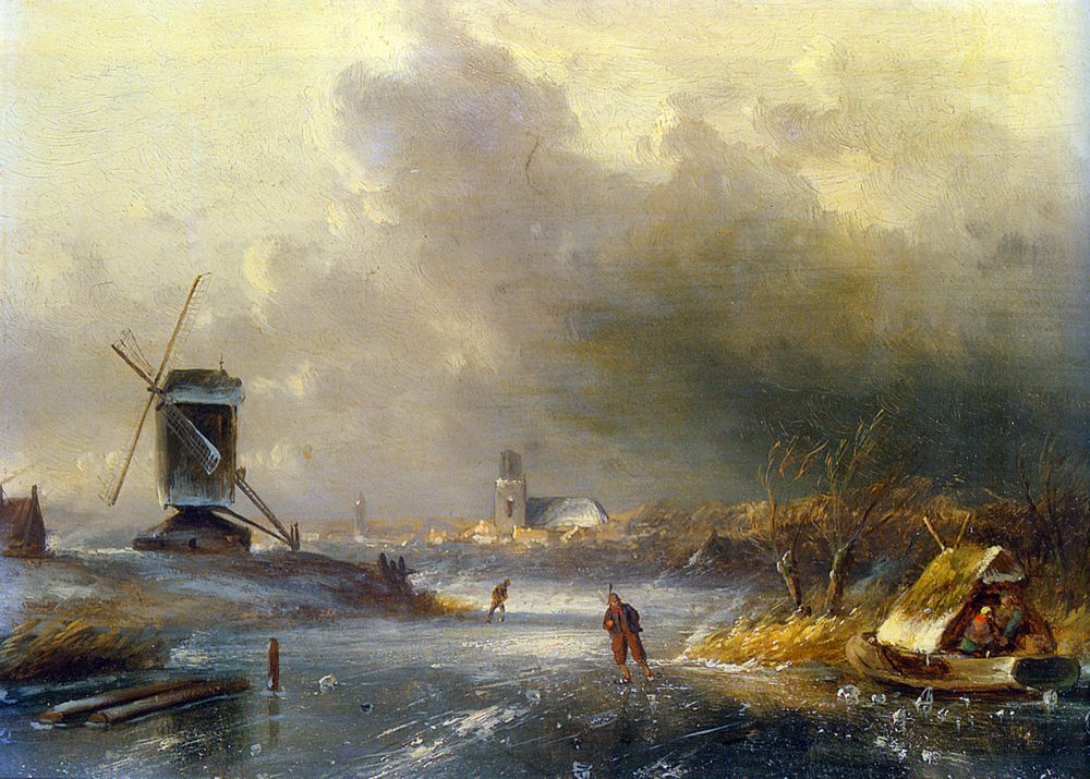 Winter Landscape with Skaters on a Frozen River :: Charles Henri Joseph Leickert - winter landscapes фото