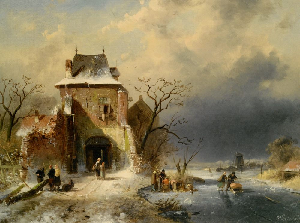 Winter Scene with Figures :: Charles Henri Joseph Leickert  - winter landscapes ôîòî