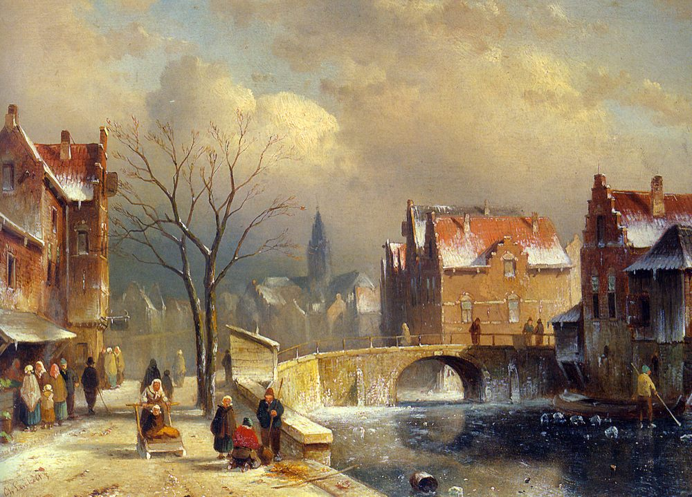Winter Villagers on a Snowy Street by a Canal :: Charles Henri Joseph Leickert - winter landscapes фото