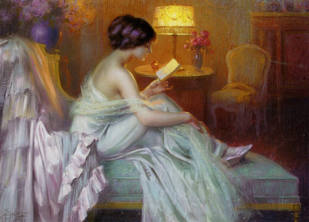 Reading at lamp light :: Delphin Enjolras - Interiors in art and painting ôîòî