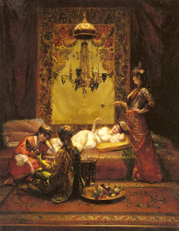 In the Harem :: Edouard Frederic Wilhelm Richter - Arab women ( Harem Life scenes ) in art  and painting фото