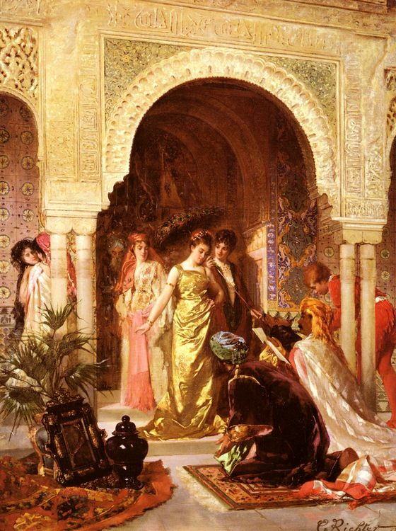 The Offering :: Edouard Frederic Wilhelm Richter - Romantic scenes in art and painting фото