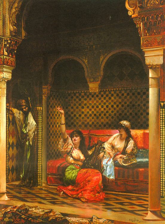 The eavesdropper :: Edouard Frederic Wilhelm Richter - Arab women ( Harem Life scenes ) in art  and painting фото