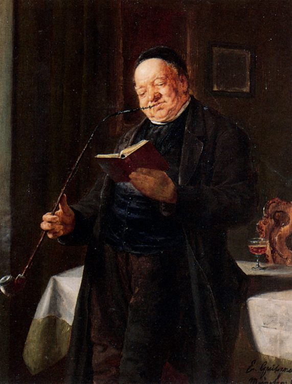 A Clergyman Smoking :: Eduard von Grutzner - Portraits of elderly men ôîòî