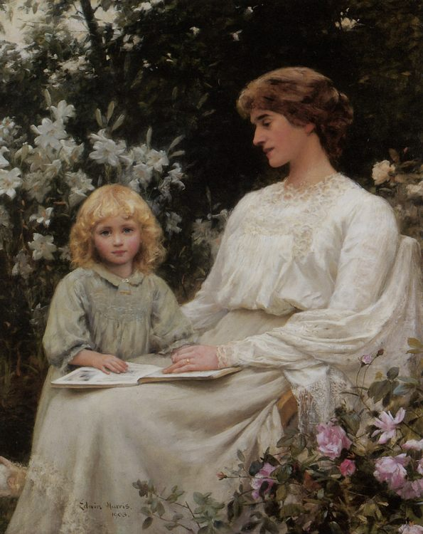 Portrait of a mother and daughter reading a book :: Edwin Harris - Woman and child in painting and art фото