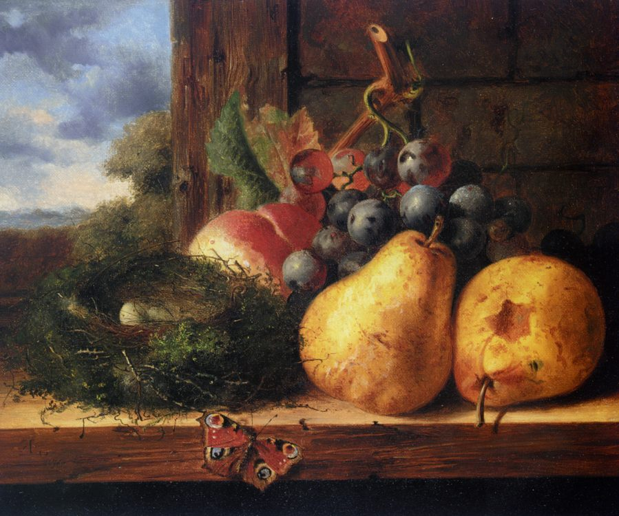 Still life with a birds nest and fruit :: Edward Ladell - Still-lives with fruit фото