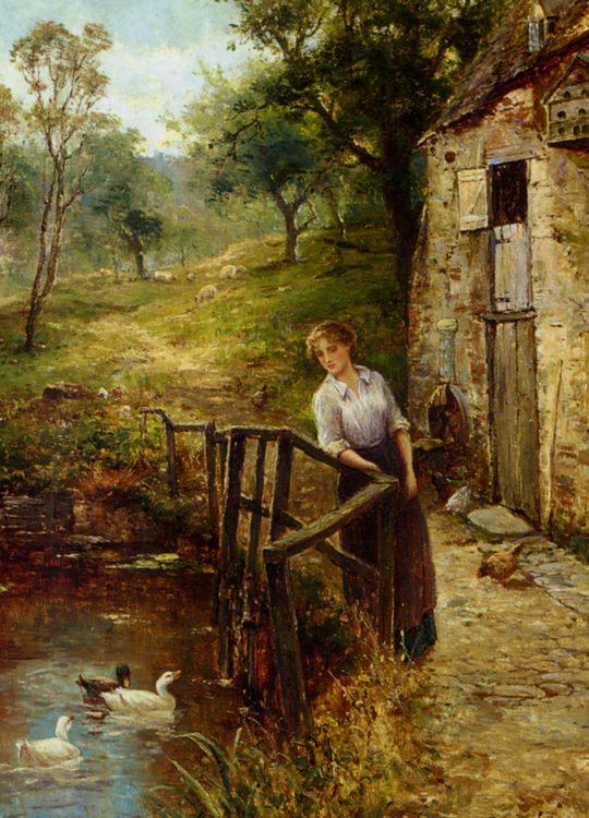 Young Lady at the Mill Pond :: Ernst Walbourn - Village life ôîòî