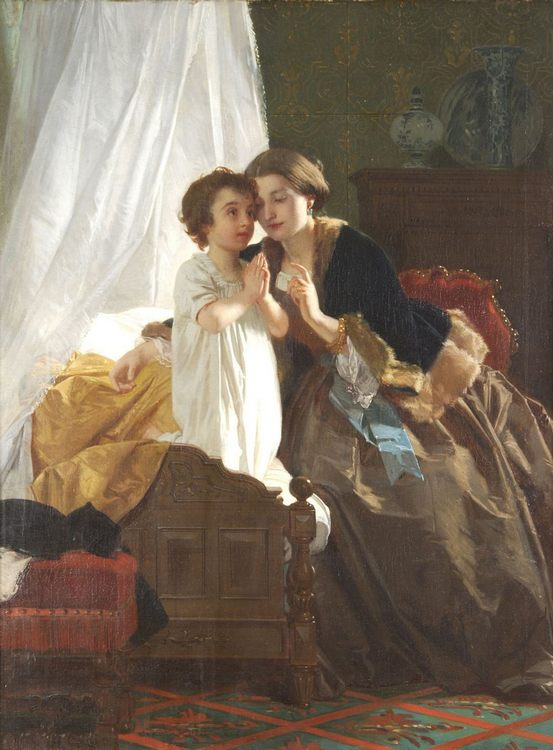 Evening Prayers :: Eugene-Ernest Hillemacher - Woman and child in painting and art фото