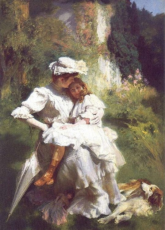 Tendresse Maternelle :: Emile Friant - Woman and child in painting and art фото