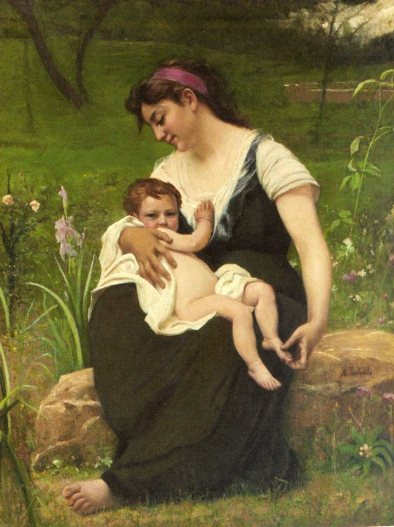 Maternite :: Francois Alfred Delobbe - Woman and child in painting and art фото