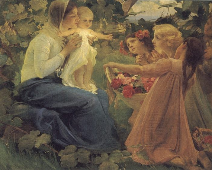 Presenting Flowers to the Infant :: Franz Dvorbk - Woman and child in painting and art фото