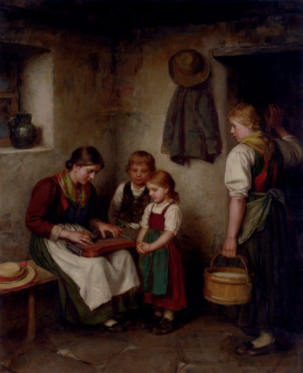 The Music Lesson :: Franz Von Defregger - Woman and child in painting and art ôîòî