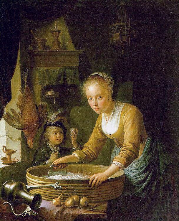 Girl Chopping Onions :: Gerrit Dou  - Woman and child in painting and art фото