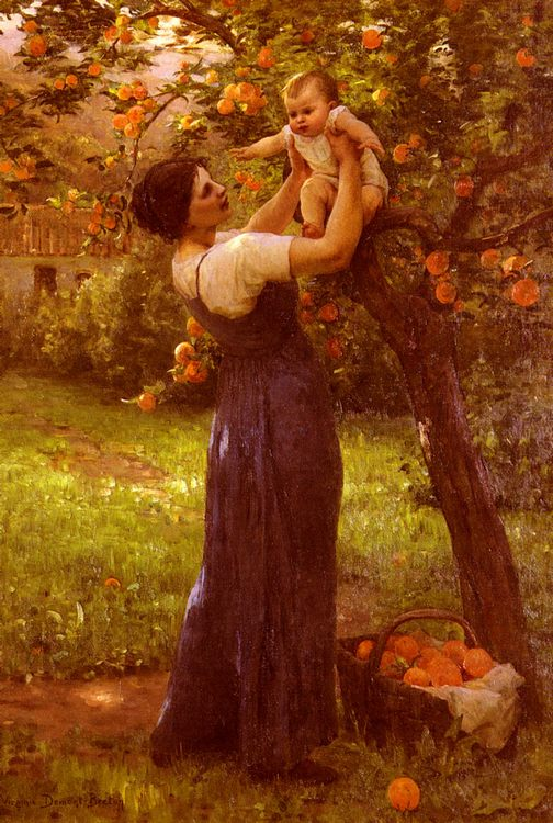 Mother and Child in the Garden :: Hippolyte Camille Delpy - Woman and child in painting and art фото