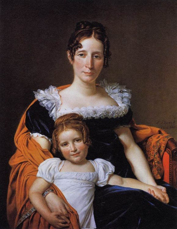 Portrait of the Comtesse Vilain XIIII and her Daughter :: Jacques-Louis David  - Woman and child in painting and art фото
