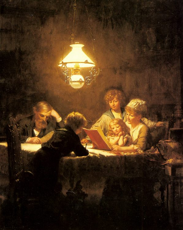 The Reading Lesson :: Knut Ekvall - Woman and child in painting and art фото