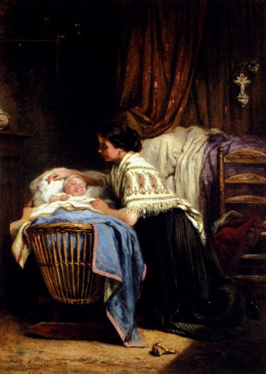 The Watchful Mother :: Leon Caille  - Woman and child in painting and art фото