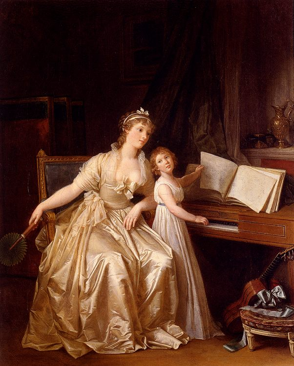 The Piano Lesson :: Marguerite Gerard  - Woman and child in painting and art фото