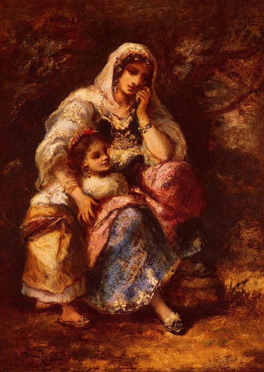 Gypsy Mother and Child :: Narcisse-Virgile Dнaz de la Peсa - Woman and child in painting and art фото