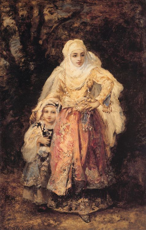 Oriental Woman and Her Daughter :: Narcisse-Virgile Dнaz de la Peсa - Woman and child in painting and art ôîòî