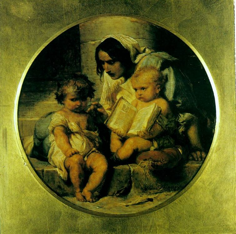 A Child Learning to Read :: Paul Delaroche - Woman and child in painting and art фото