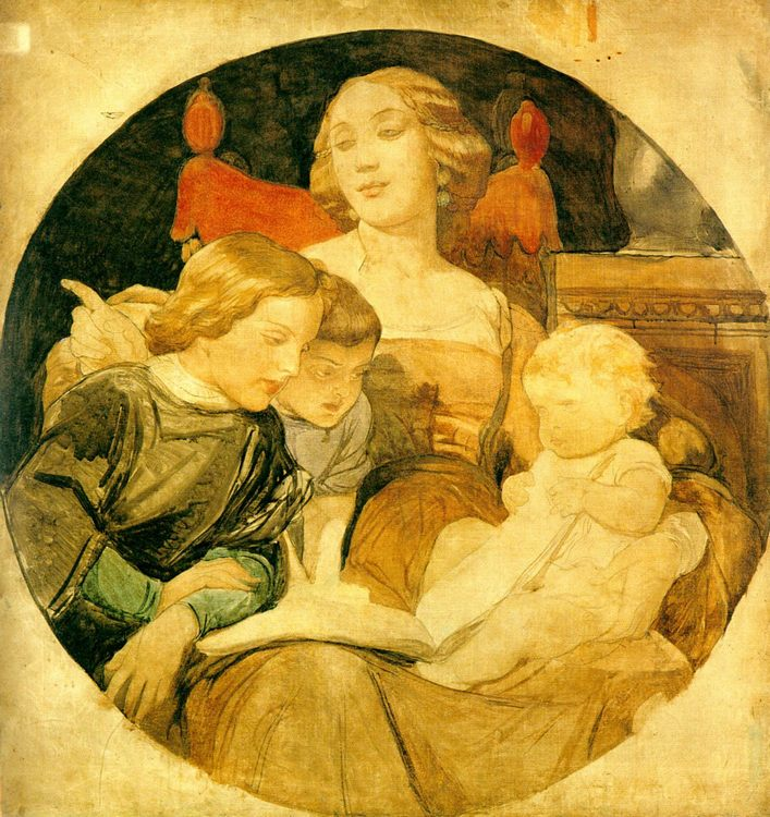 A Family Scene :: Paul Delaroche  - Woman and child in painting and art фото