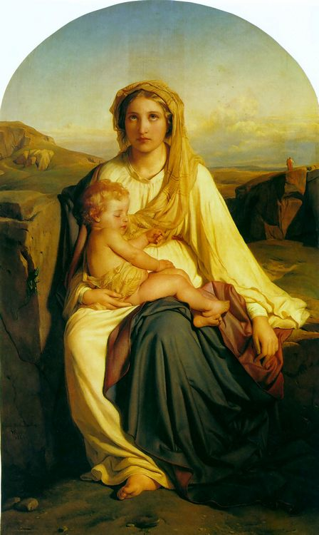 Virgin and Child :: Paul Delaroche - Woman and child in painting and art фото