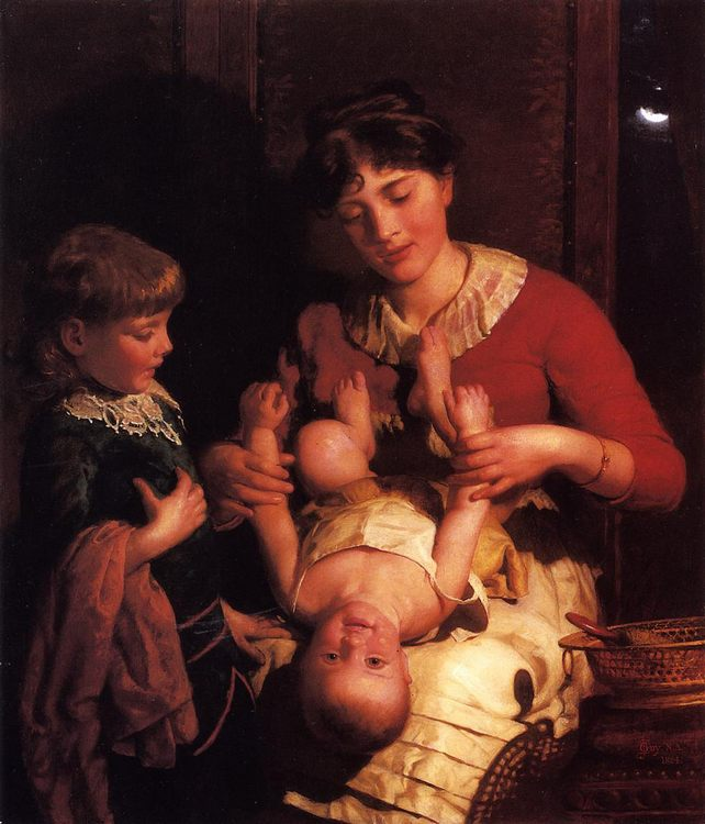 See-Saw, Margery Day :: Seymour Joseph Guy - Woman and child in painting and art фото