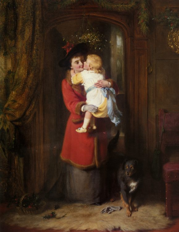 A Christmas Kiss :: George Bernard O'Neill - Woman and child in painting and art фото