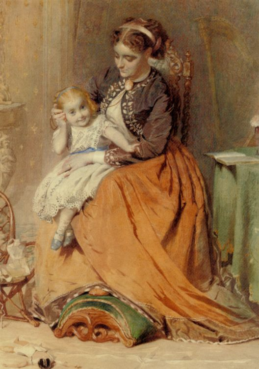 A girl listening to the ticking of a pocket watch while sitting on her mothers lap  :: George Elgar Hicks - Woman and child in painting and art фото