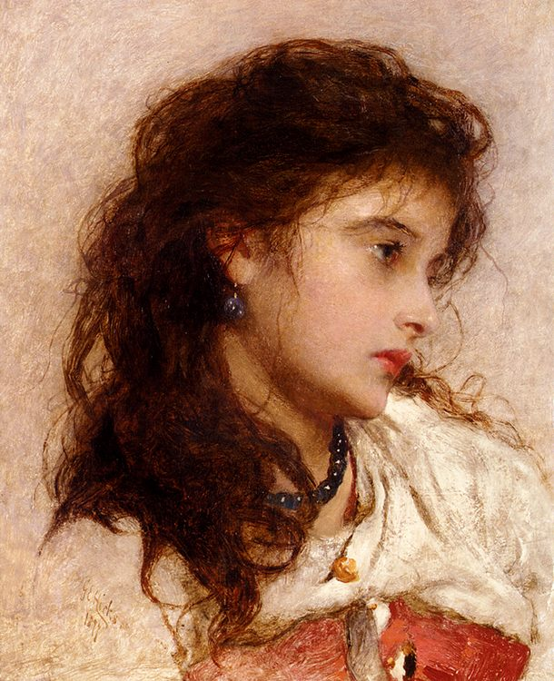 A Gypsy Girl :: George Elgar Hicks - Young beauties portraits in art and painting ôîòî