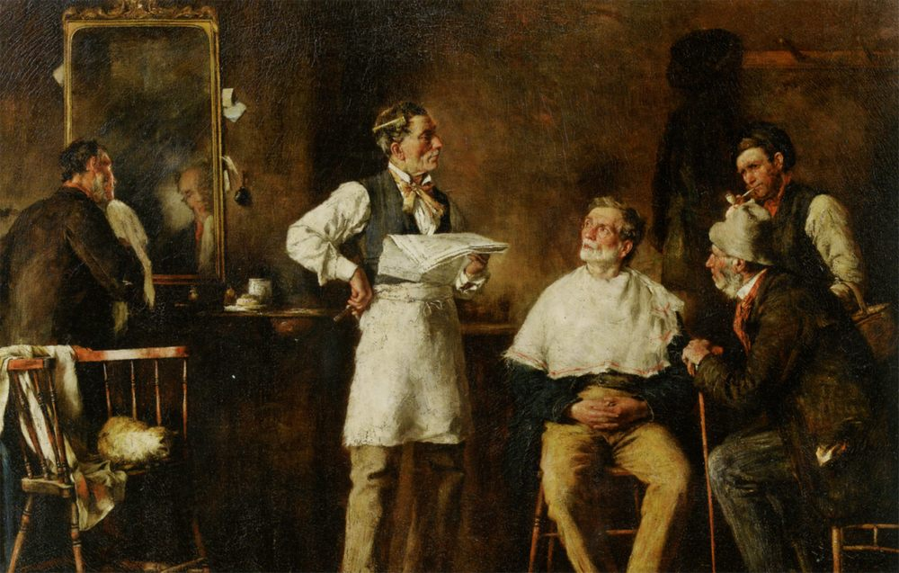 The Barbers Shop :: George Elgar Hicks - Interiors in art and painting фото