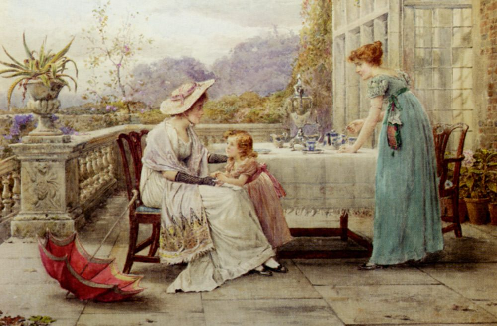 Afternoon Tea :: George Goodwin Kilburne - Woman and child in painting and art фото