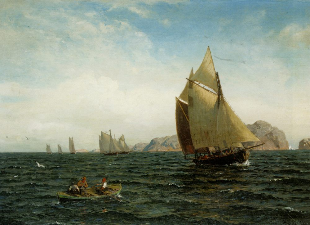 The ships at fjords :: Hans Fredrik Gude - Sea landscapes with ships фото