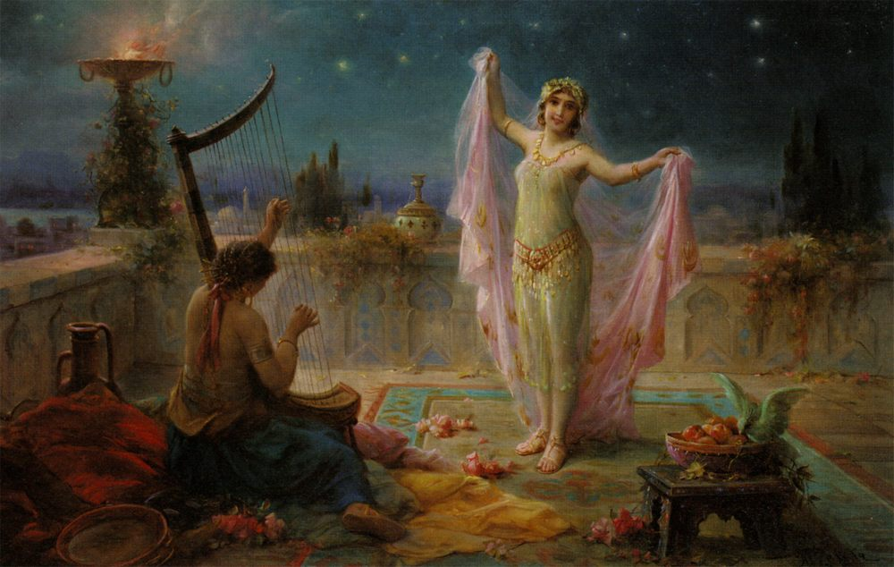 Moonlight Serenade :: Hans Zatzka - Arab women ( Harem Life scenes ) in art  and painting фото