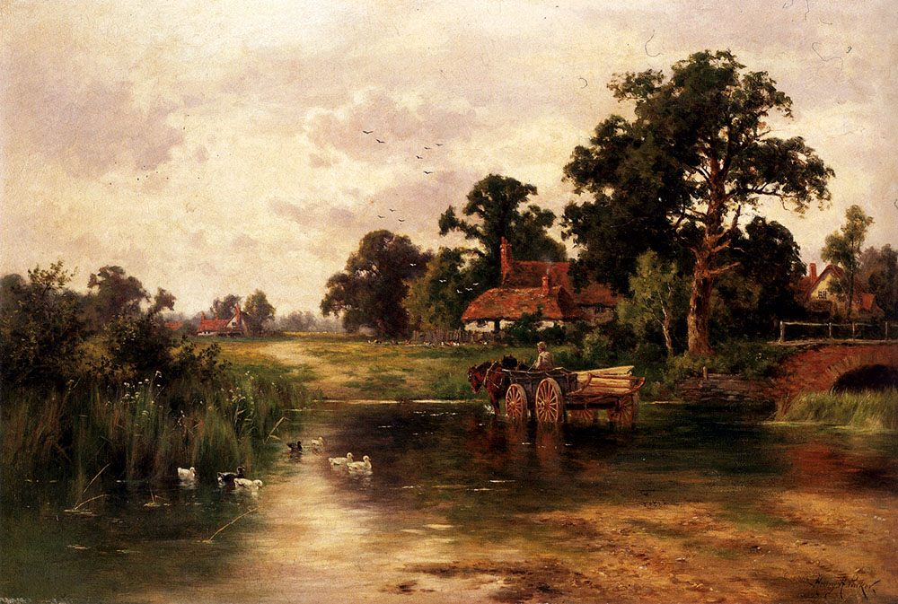 Across The Ford :: Henry Hillier Parker - Summer landscapes and gardens ôîòî