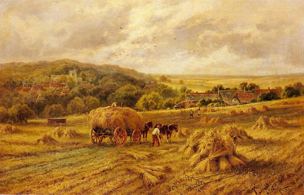 Harvest Time, Lambourne, Berks :: Henry Hillier Parker - Village life фото