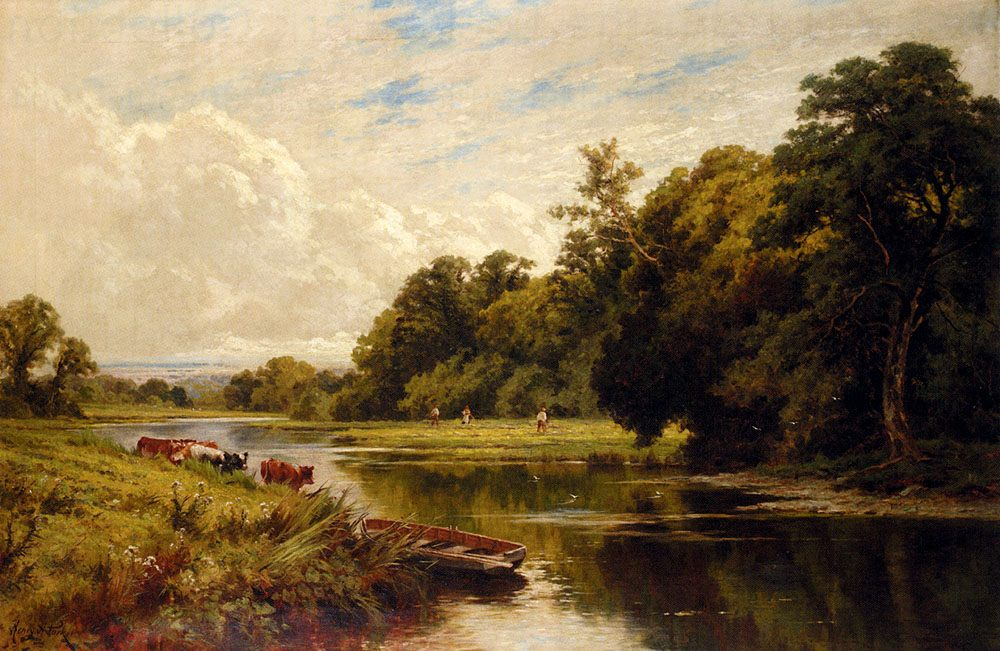 On The Banks Of The Thames :: Henry Hillier Parker - Landscapes with cows ôîòî
