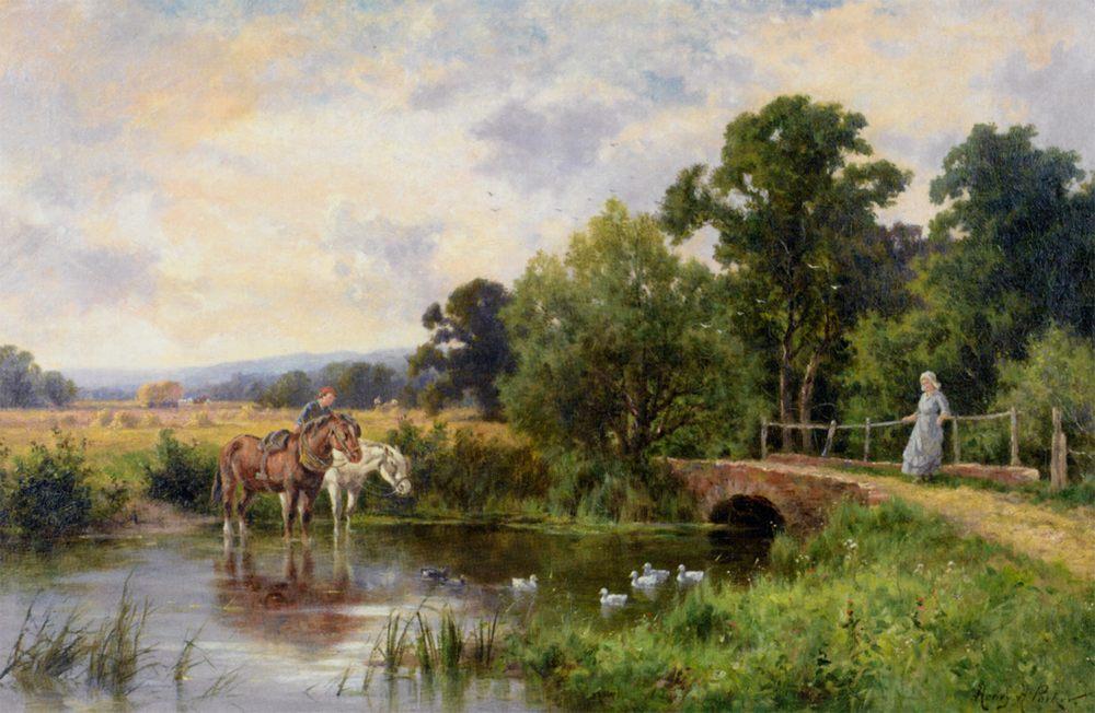 Watering the Horses :: Henry Hillier Parker - Village life ôîòî