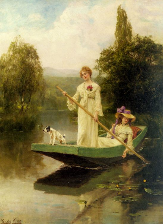 Two Ladies Punting on the River :: Henry John Yeend King - Romantic scenes in art and painting фото