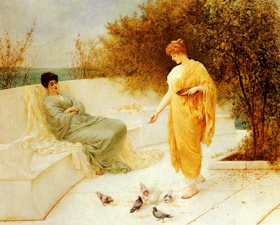 Feeding Doves :: Henry Thomas Schafer - Antique beauties in art and painting фото