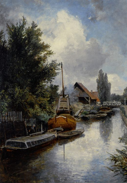 Shipyard along the Schie near Delft :: Johan Barthold Jongkind - River landscapes фото