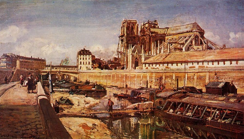 Notre-Dame de Paris, Seen from the Pont de L'Archeveche :: Johan Barthold Jongkind - France фото