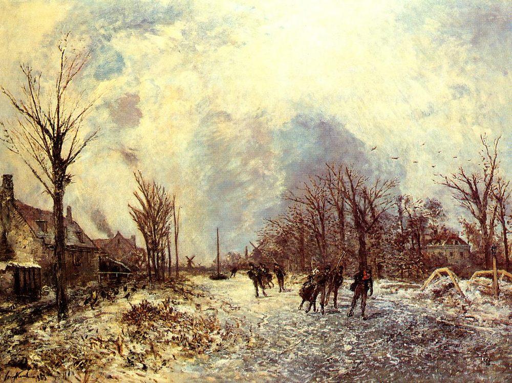 Skaters in Holland :: Johan Barthold Jongkind - winter landscapes ôîòî