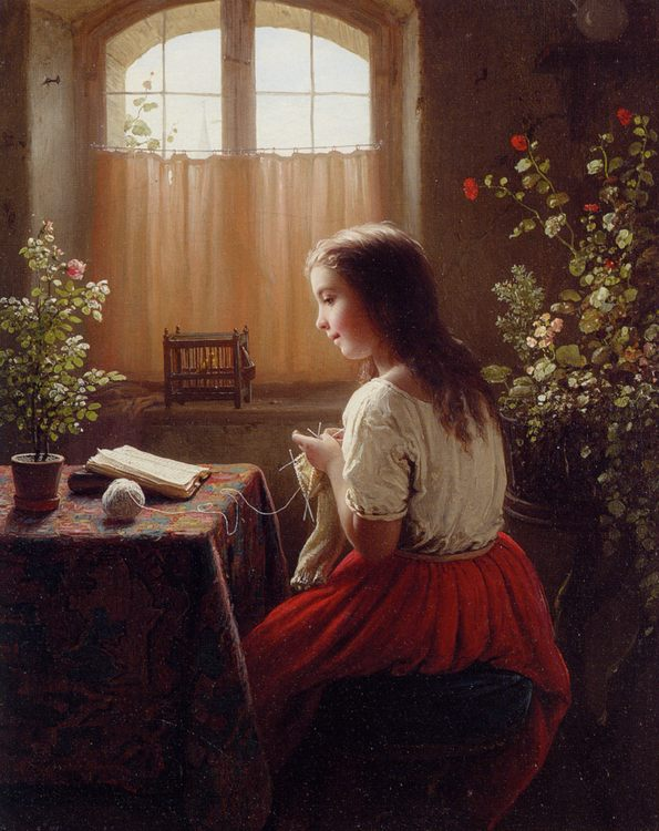 An Afternoons Amusements :: Johann Georg Meyer von Bremen - Young beauties portraits in art and painting ôîòî