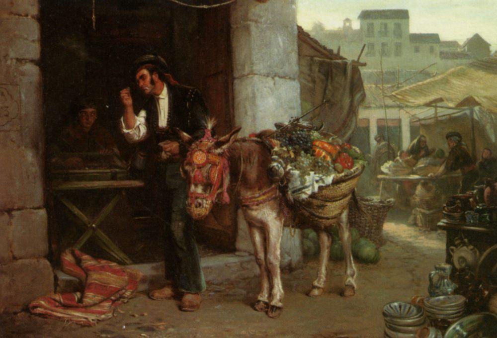 A Doubtful Bargain :: John Haynes Williams - Street and market genre scenes фото