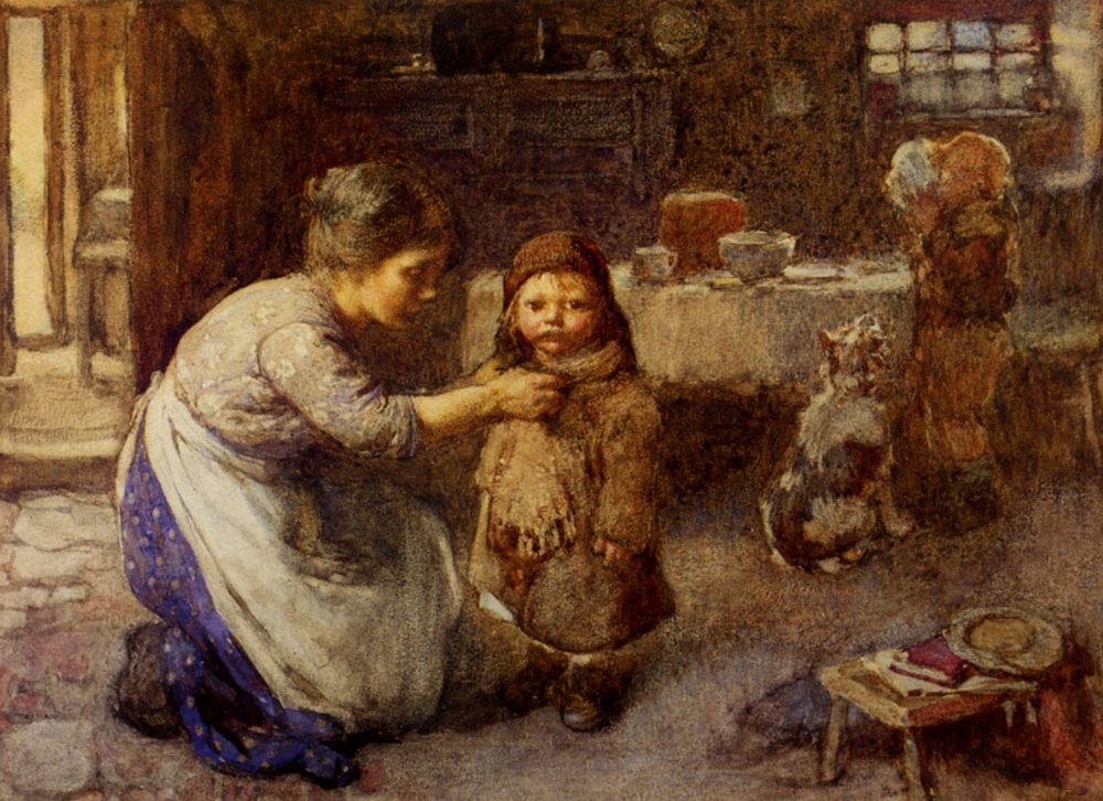 This is the way we go to school :: John Henry Henshall - Woman and child in painting and art фото