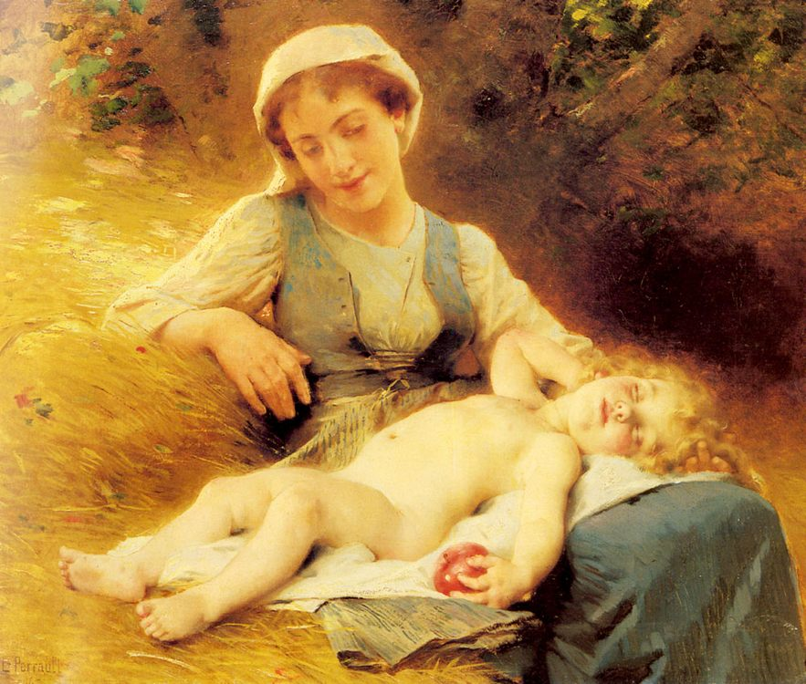 A Mother with her Sleeping Child :: Leon Bazile Perrault - Woman and child in painting and art фото