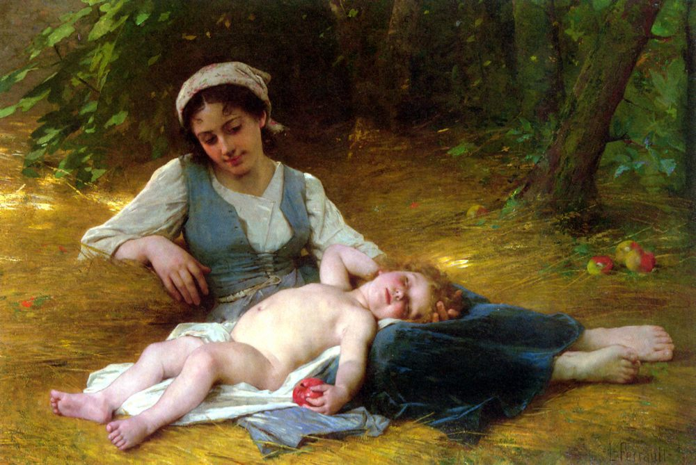 Young mother and child asleep :: Leon Bazile Perrault - Woman and child in painting and art фото